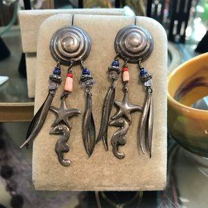 Wacky Silver Light Weight Sea Shell Gypsy Earrings